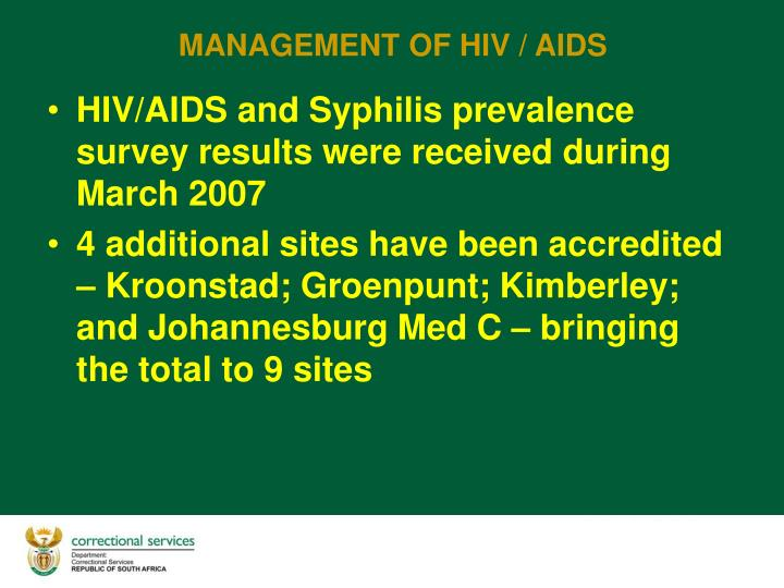 HIV/AIDS and Syphilis prevalence survey results were received during March 2007