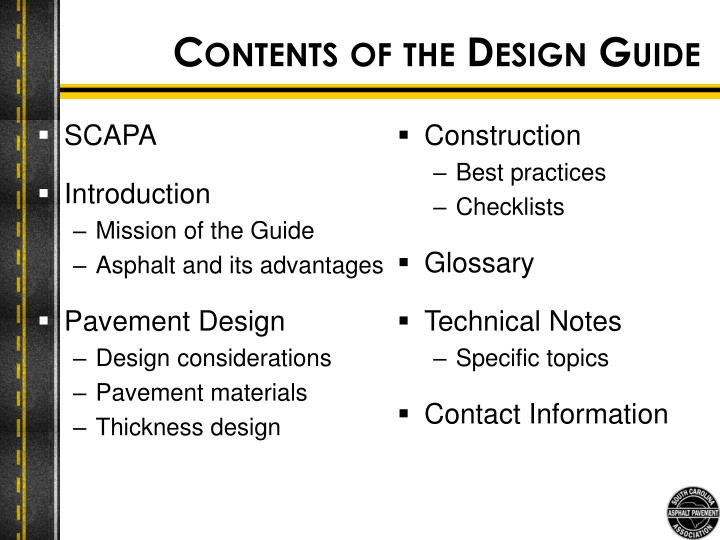 Contents of the Design Guide