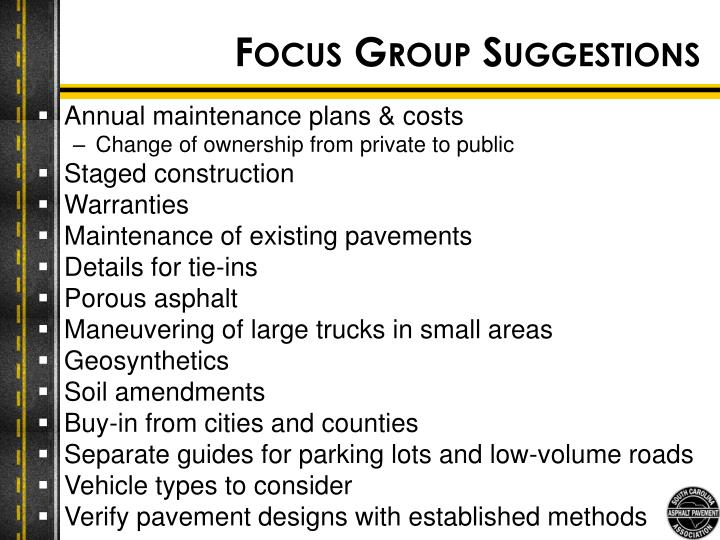 Focus Group Suggestions