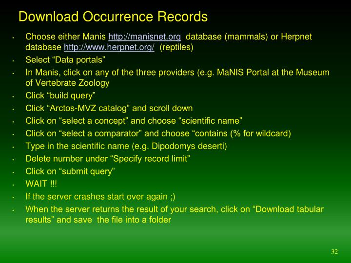 Download Occurrence Records