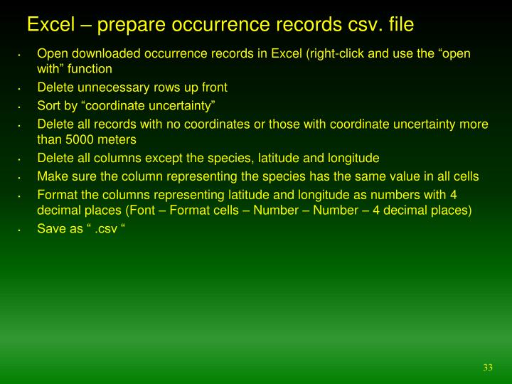 Excel – prepare occurrence records csv. file