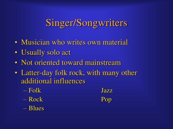 Singer/Songwriters