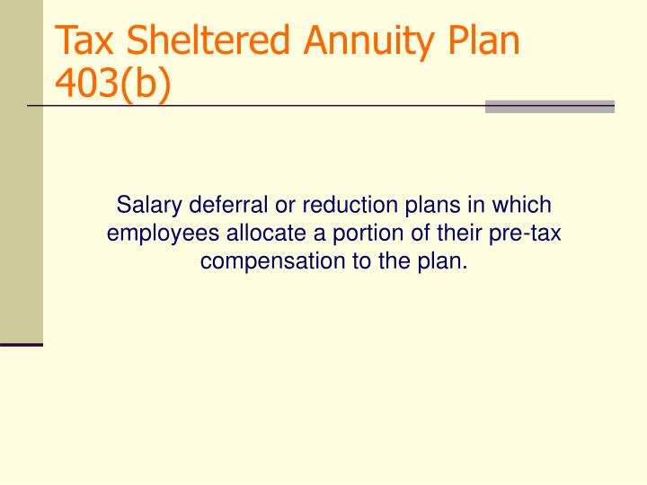 Tax Sheltered Annuity Plan 403(b)