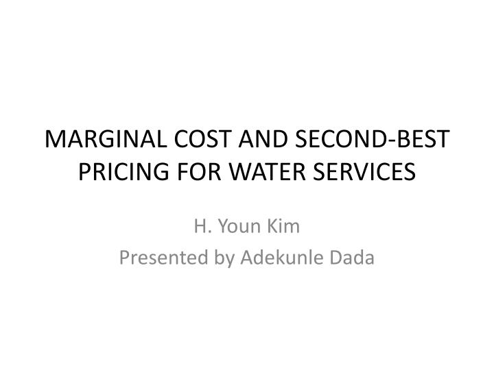 marginal cost and second best pricing for water services n.