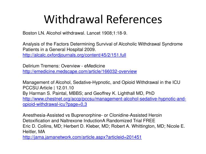 Withdrawal References