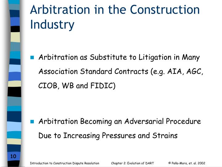 Arbitration in the Construction Industry