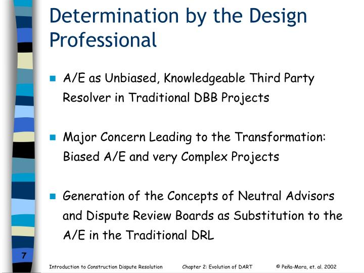 Determination by the Design Professional