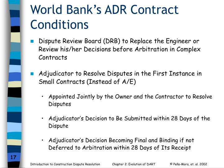 World Bank's ADR Contract Conditions