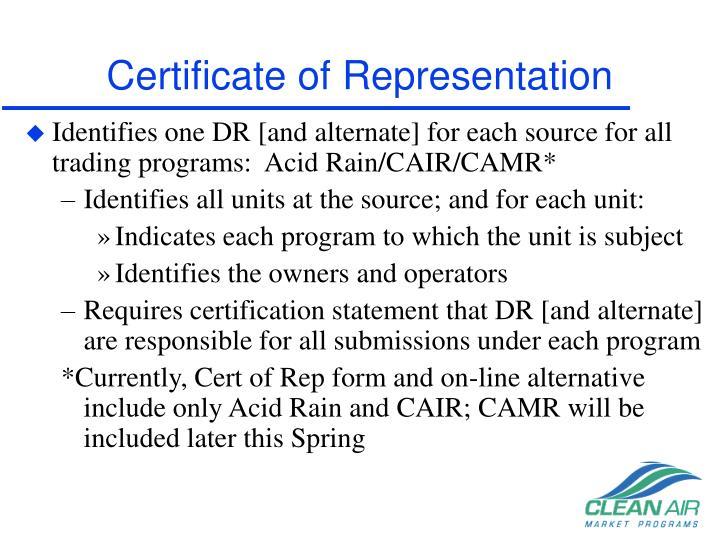 Certificate of representation