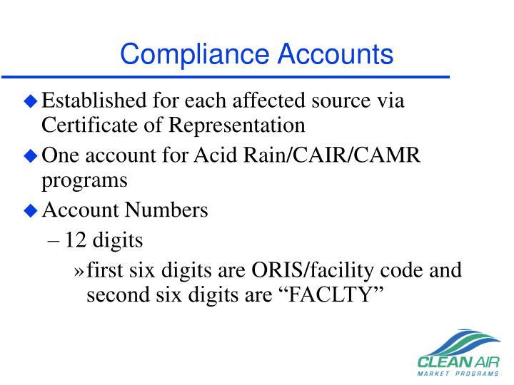 Compliance Accounts