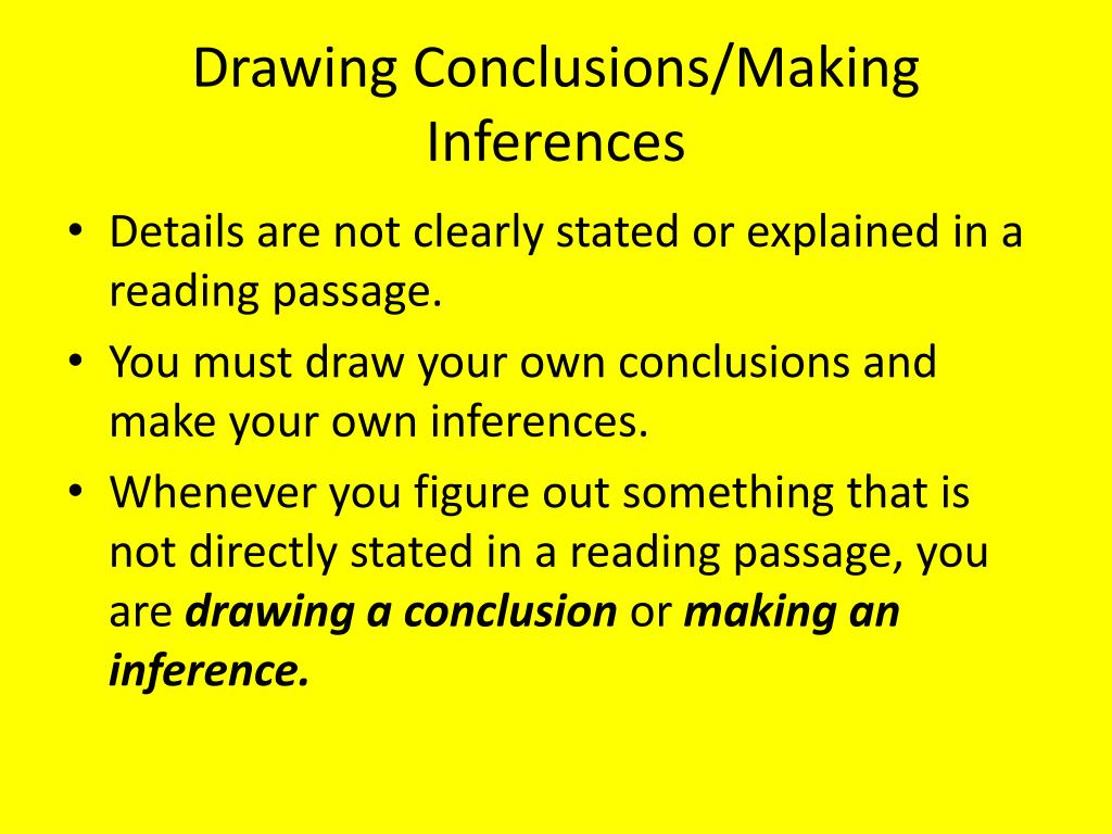 Ppt Drawing Conclusions Making Inferences Powerpoint