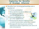 capturing the benefits of strategic alliances