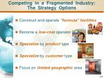 competing in a fragmented industry the strategy options