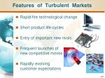 features of turbulent markets