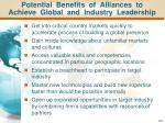 potential benefits of alliances to achieve global and industry leadership