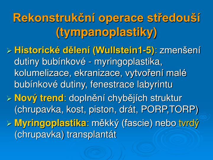 Rekonstrukční operace středouší (tympanoplastiky)