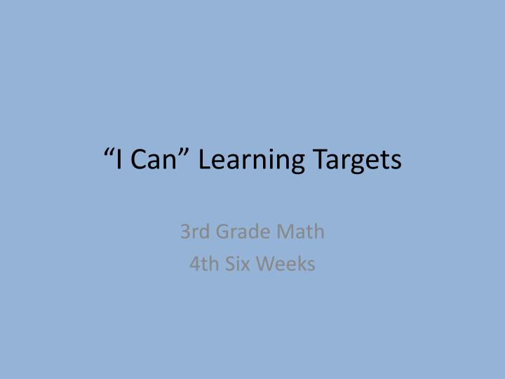 i can learning targets n.