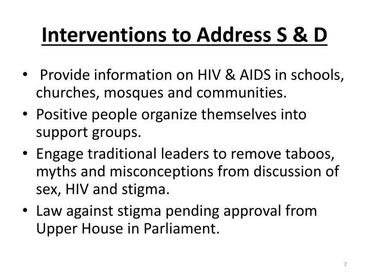 Interventions to Address S & D