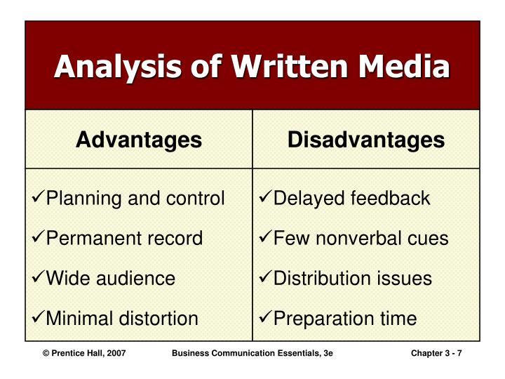 Analysis of Written Media