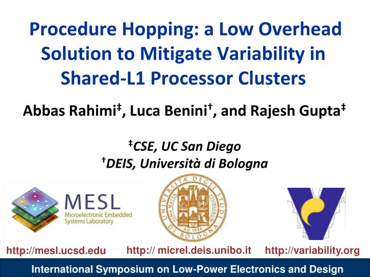 Procedure Hopping: a Low Overhead Solution to Mitigate Variability in Shared-L1 Processor Clusters