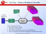 use case value to healthcare provider