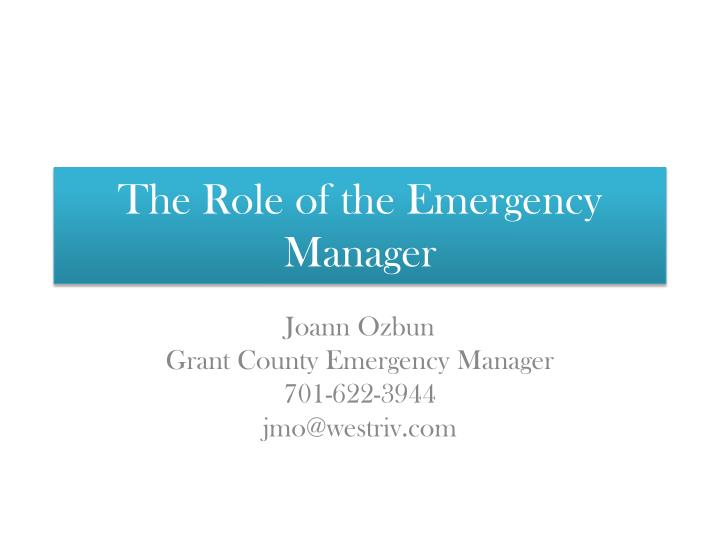 the role of the emergency manager n.