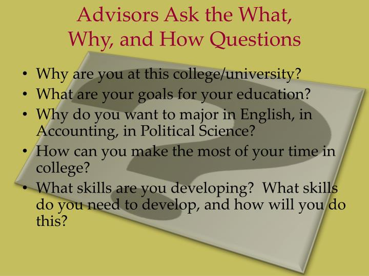 Advisors Ask the What,