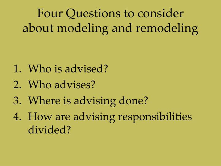 Four Questions to consider