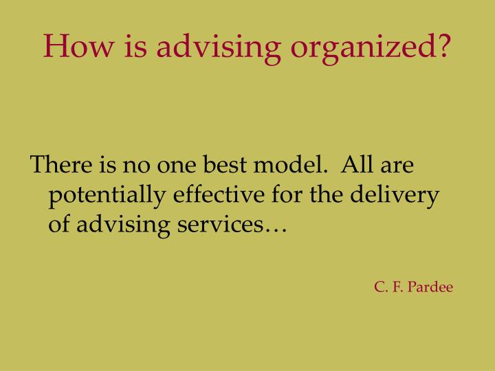 How is advising organized?