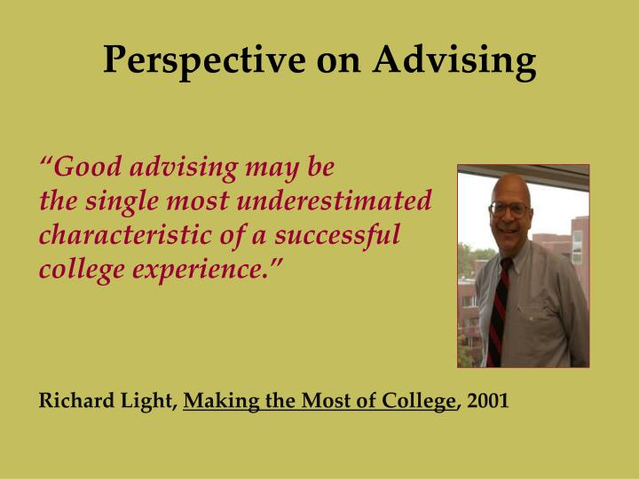 Perspective on advising