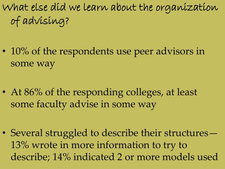 What else did we learn about the organization of advising?