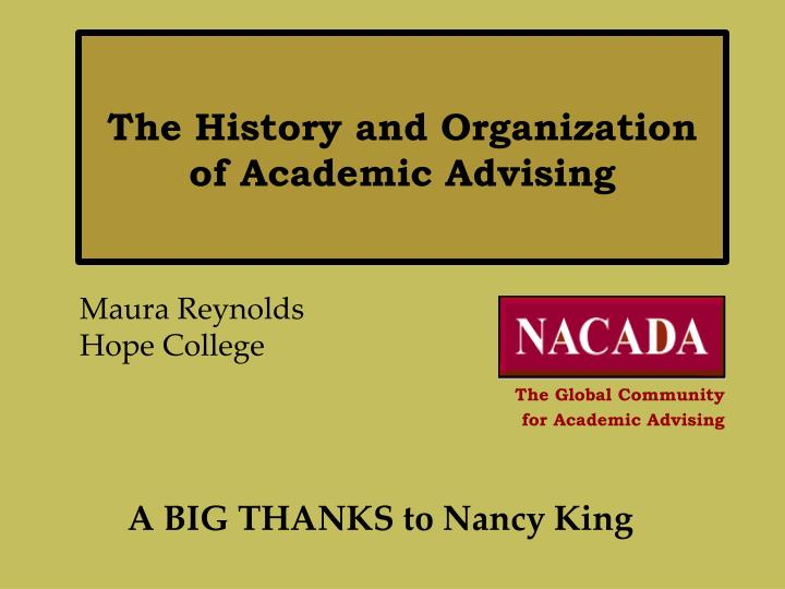 the history and organization of academic advising n.