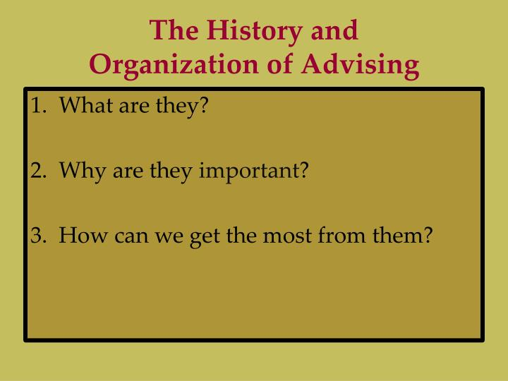 The history and organization of advising