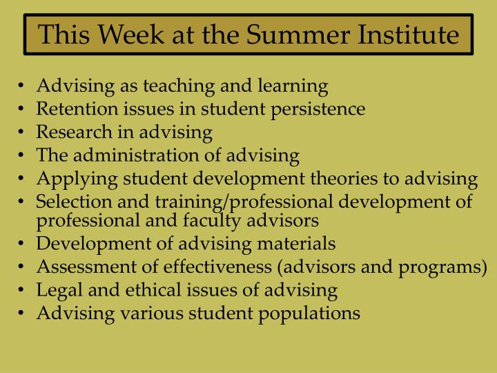 This Week at the Summer Institute