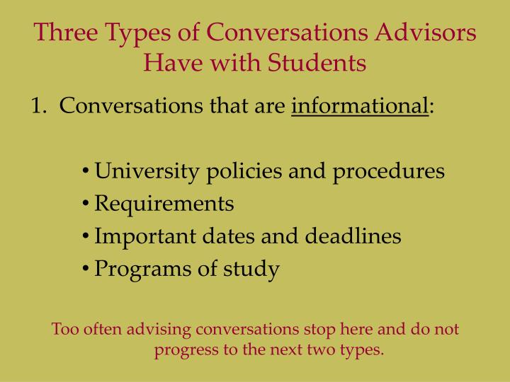Three Types of Conversations Advisors Have with Students