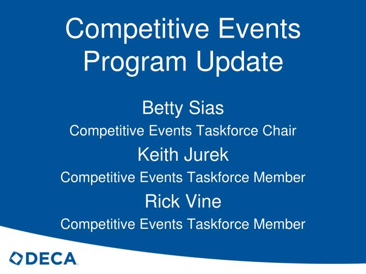 competitive events program update n.