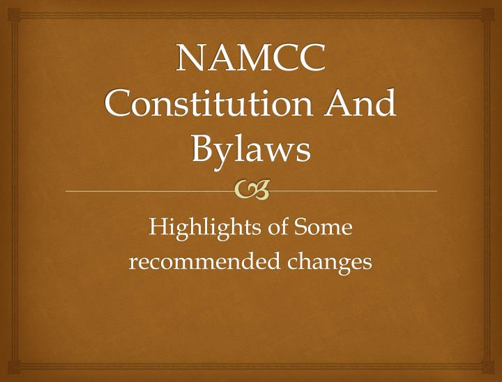 namcc constitution and bylaws n.