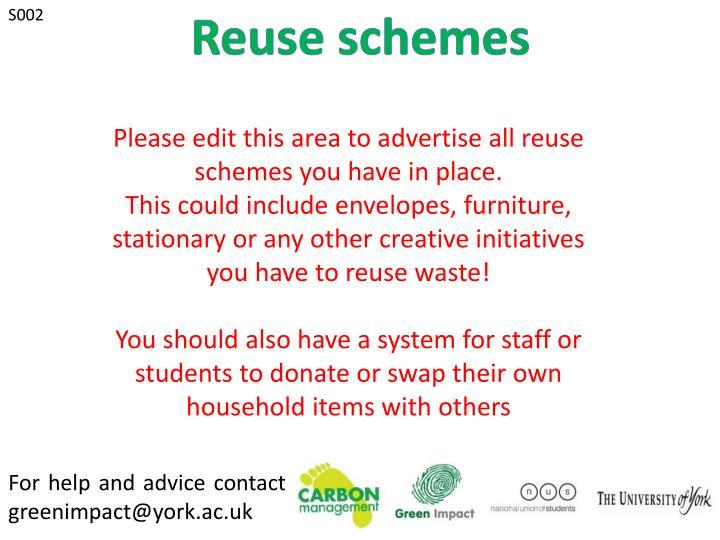 Reuse schemes