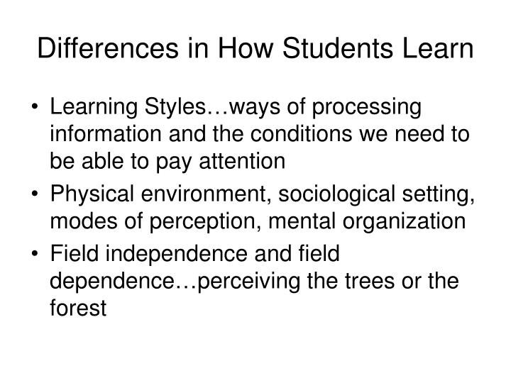 Differences in How Students Learn