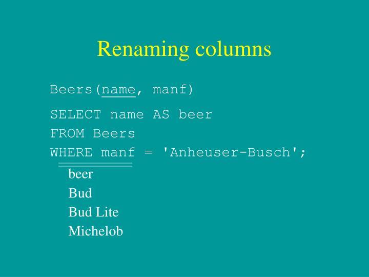 Renaming columns
