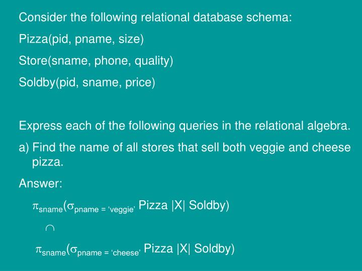Consider the following relational database schema: