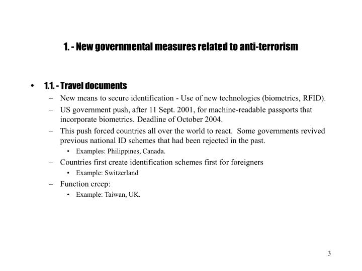 1 new governmental measures related to anti terrorism
