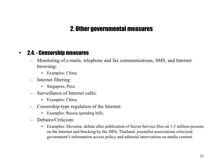 2. Other governmental measures