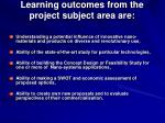 learning outcomes from the project subject area are