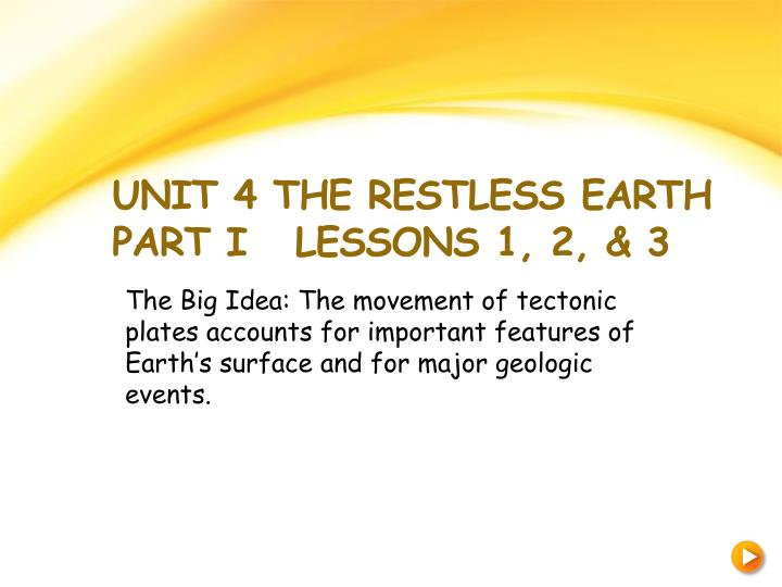 unit 4 the restless earth part i lessons 1 2 3 n.