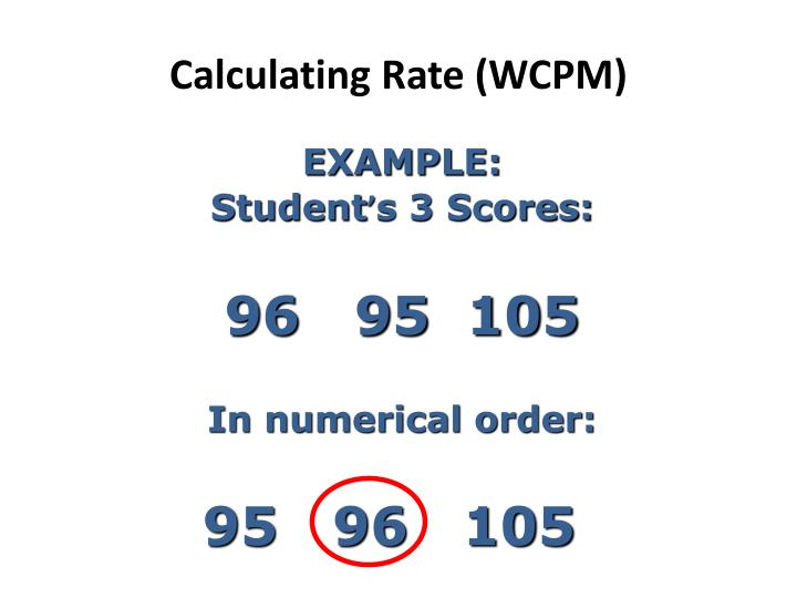 Calculating Rate (WCPM)