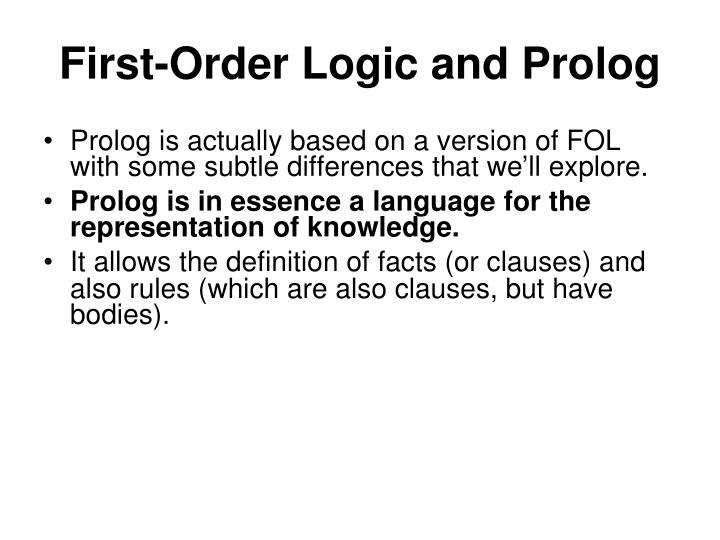 First-Order Logic and Prolog