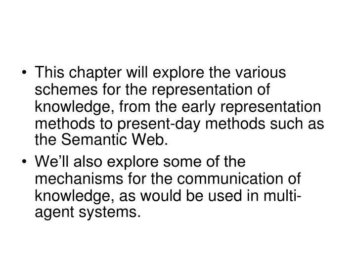 This chapter will explore the various schemes for the representation of knowledge, from the early representation methods to present-day methods such as the Semantic Web.