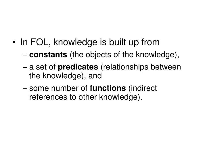 In FOL, knowledge is built up from