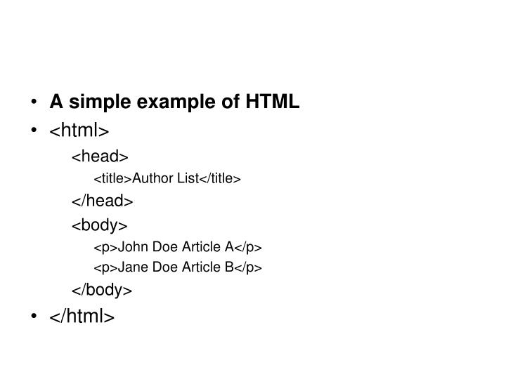 A simple example of HTML